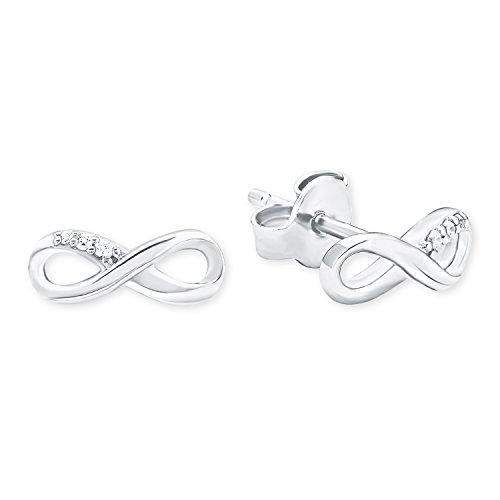 s.Oliver Damen-Ohrstecker So Pure Infinity Unendlichkeitszeichen 925 Silber rhodiniert Zirkonia weiß