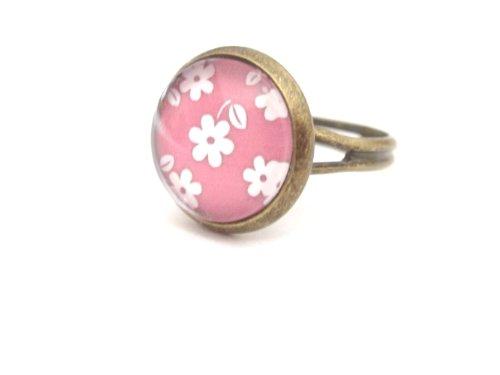 Blümchen Cabochon Ring bronzefarben rosa weiss