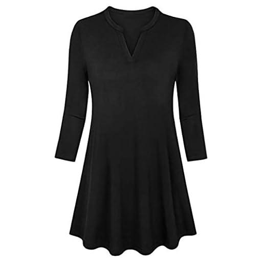 Tops-Damen-Pullover-DOLDOA-V-Ausschnitt-34-rmel-Oberteile-Sweatshirt-Bluse