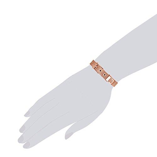 Rafaela Donata Damen-Armband – rosévergoldete Gürtel Länge Flexibel 14.5 bis 19 cm Edelstahl in Rosegold-Farben – Modernes Milanaise-Armband rosevergoldet in Fashion-Design Vergoldet in rosé 60917061
