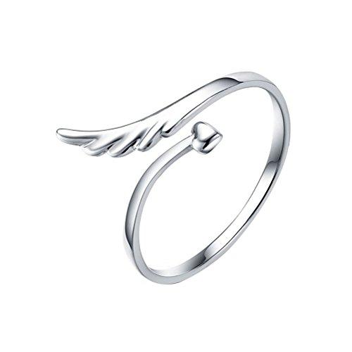 VORCOOL 925 Sterling Silber Ring mit Engels Flügel Herz – Verstellbar