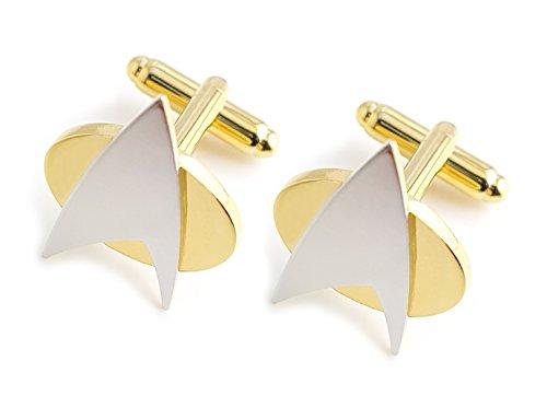 Star Trek Manschettenknöpfe Gold Edelstahl One Pair Cufflinks in edler Geschenkbox – deutscher Händler und Blitzversand von Mind-Care-Essentials – V5