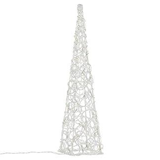 Nipach-LED-Pyramide-Lichterkegel-Beleuchtung-fr-Weihnachten-innen-auen-Acryl-Figur-Batterie-Timer-30-Leuchten-wei-60-cm-hoch
