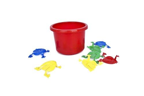 Tolles-Frosch-Hpf-Spiel-lustiges-Froschhpfspiel-Geschicklichkeitsspiel-fr-Jung-und-Alt-Frosch-Hpfspiel-12-Frsche-Eimer-rot-BE-89288