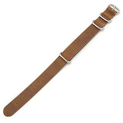 Uhrenarmband-Nato-Crazy-Horse-Echtes-Leder-Uhrband-18mm-20mm-22mm-Militr-Zulu-Schweizer-Armband-Premium-Lederband-fr-Herren-Damen-mit-Edelstahl-Schliee