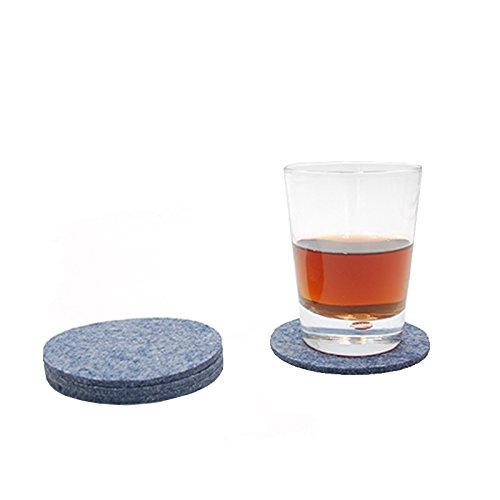 Filzuntersetzer Tassenuntersetzer Glasuntersetzer Tischschoner Filz Untersetzer rund ca. 4mm dick ca. Ø 10 cm Durchmesser (4 Stück ca. Ø 10 cm, 49 Blau Meliert)
