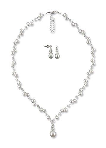 Rivelle Damen Brautschmuck Set Marlene Schmuckset Swarovski kristall Perlen Halskette Collier Ohrringe Schmuck Hochzeit Geschenkbox 41382