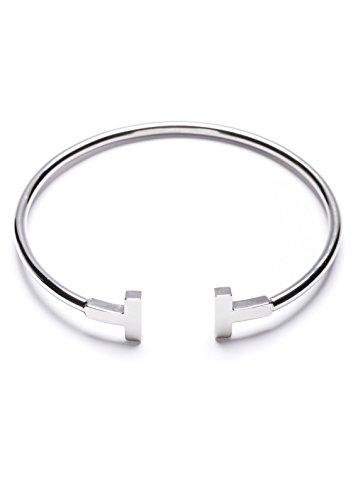 Happiness Boutique Damen Offener Armreif Silberfarbe Titan | Offenes Armband Minimalist Armschmuck für Frauen Titanschmuck