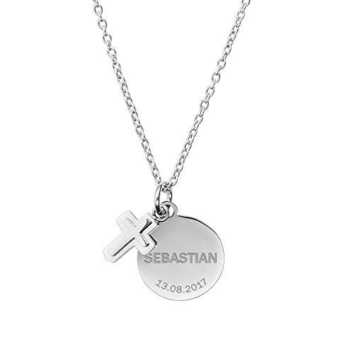 Gravado Halskette aus Edelstahl – Farbe Silber – Anhänger mit Gravur – Personalisiert mit [Namen] und [Datum] – Mädchen Schmuck – Geschenk zur Taufe, Kommunion, Konfirmation und Einschulung