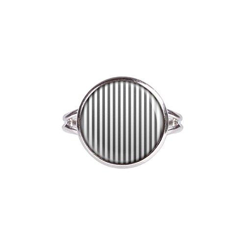 Mylery Ring mit Motiv Streifen Gestreift Schwarz Weiß silber verschiedene Größen