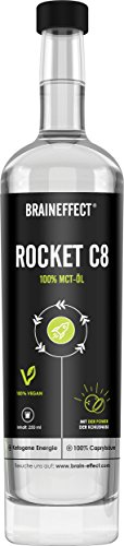 BRAINEFFECT MCT Öl | Rocket C8 (Caprylsäure) | Extrakt aus Kokosöl | Ketogene Ernährung, Bulletproof Coffee, Smoothies & Dressing | Geschmacksneutral | 500ml Glasflasche | vegan