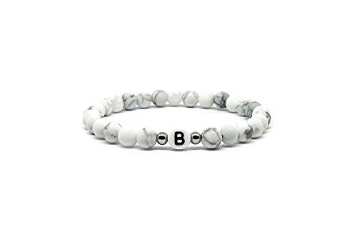 Mister Boncuk ® Eternal Love – Partnerarmbänder aus Onyx- & Howlith Perlen mit hochwertigen Edelstahl Zwischenperlen – Namensarmband Individuell Personalisierbar mit graviertem Buchstaben
