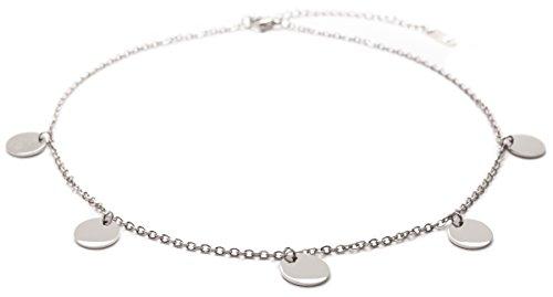 Happiness Boutique Damen Kette mit Plättchen in Silberfarbe | Kette Runde Anhänger im Geometrischen Design