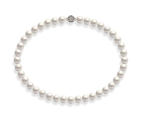 Schmuckwilli Damen Muschelkernperlen Perlenkette Weiß Magnetverschluß echte Muschel mk0019z