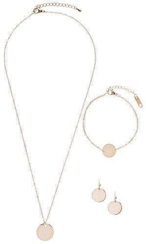Happiness Boutique Damen Schmuckset in Rosegold | Kreis Kette Runde Ohrringe und Armband mit Kreis Anhänger im Zarten Design