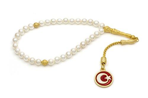 Gök-Türk Elegante Gebetskette – Tesbih 33 Perlen Weisse Perlen mit goldfarbenem Anhänger 'Mond mit Stern' Ay Yildiz