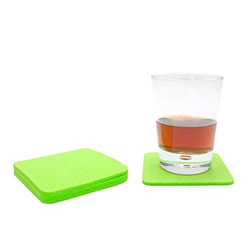 Filzuntersetzer Tassenuntersetzer Glasuntersetzer Tischschoner Filz Untersetzer abgerundet eckig quadratisch ca. 4mm dick ca. Ø 10 cm Durchmesser (4 Stück ca. Ø 10 cm, 61 Hellgrün)