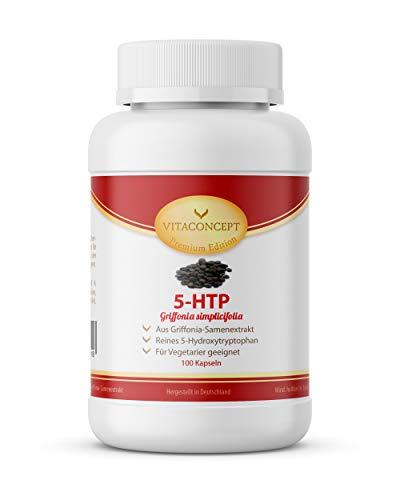 5-HTP – 200mg hochdosiertes Griffonia Simplicifolia Extrakt pro Kapsel *100 Vegane Kapseln* aus Original Griffonia Simplicifolia Samen von VITACONCEPT