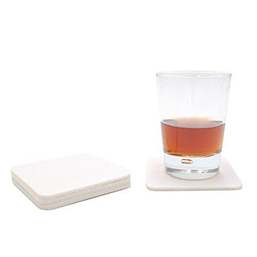 Filzuntersetzer Tassenuntersetzer Glasuntersetzer Tischschoner Filz Untersetzer abgerundet eckig quadratisch ca. 4mm dick ca. Ø 10 cm Durchmesser (8 Stück ca. Ø 10 cm, 01 Weiß)