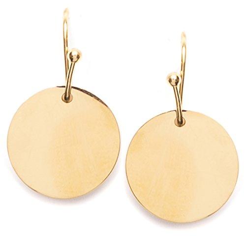 Happiness Boutique Damen Plättchen Ohrhänger in Goldfarbe | Ohrringe mit Disk Kreis Form Kleine Hängeohrringe