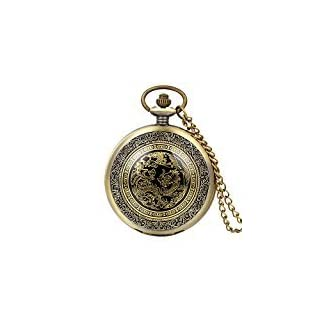 Avaner-Taschenuhr-mit-Kette-Antik-Bronze-fr-Herren-Drache-Phnix-Quarz-auch-als-Halskette-verwendbar