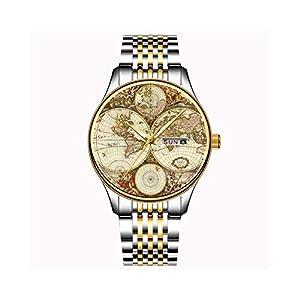 Uhren-Herrenmode-Japanische-Quarz-Datum-Edelstahl-Armband-Gold-Uhr-Antike-Weltkarte-Armbanduhr