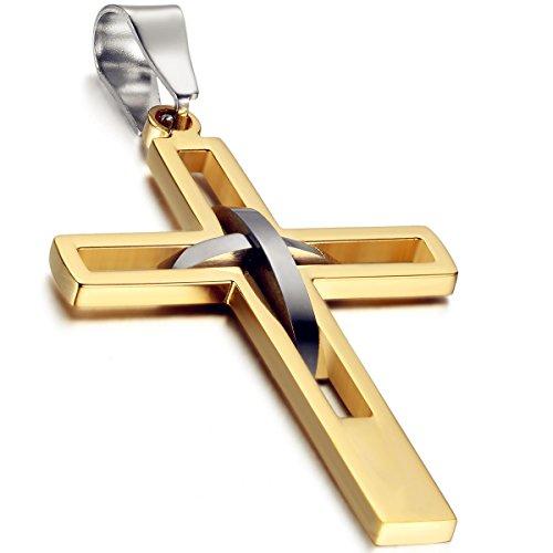 Flongo Herren-Kette Männer Anhänger, Edelstahl Anhänger Halskette Schwarz Silber Gold Blau Kreuz Hohle Openwork Jahrgang Poliert Herren,mit 54cm Kette
