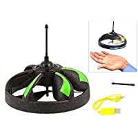 Induction-UFO-Handgesteuertes-High-Tech-RC-Flugobjekt-mit-Infrarot-Sensor-Grn-LED-Beleuchtung-Akku-Handsteuerung-Fliegender-Ball-Flugzeug-Hubschrauber-Untertasse