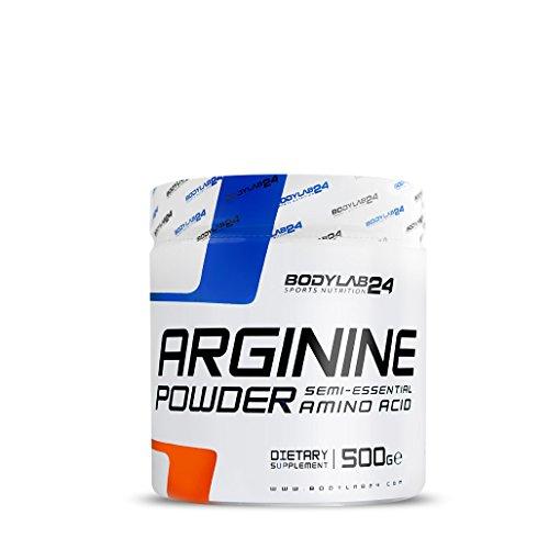 Bodylab24 Arginin Pulver, hochdosiertes pures L-Arginin ohne Zusatzstoffe , die Aminosäure für Sport und Fitness, Premium Qualität, 500g Dose