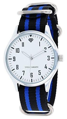 Yves-Camani-Unisson-Unisex-Armbanduhr-mit-weiem-Zifferblatt-und-schwarz-blauem-Nylon-Nato-Armband