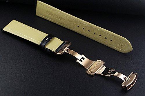 17mm-Brown-Kalbsleder-Uhr-Ersatz-Bgel-Bands-mit-Rose-Gold-Faltschliee