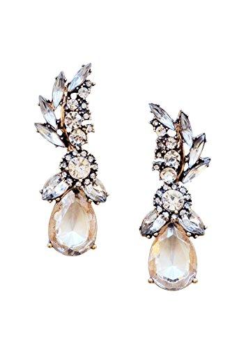 Happiness Boutique Damen Statement Ohrringe in Vintage Goldfarbe | Auffällige Ohrringe mit Strasssteinen Hochzeit Brautschmuck Chandelier nickelfrei