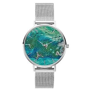 Souarts-Damen-Armbanduhr-Frauen-Uhren-Korallenschalen-Muster-Mesh-Edelstahl-Armband-Silber-Gold-Farbe-lssige-runde-Analog-Quarzuhr-Geschenk