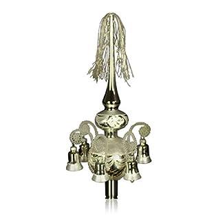 Doppelspitze-mit-Glckchen-silber-umsponnen-L-ca-33cm-dKugeln-68cm-Christbaumschmuck-Weihnachtsbaumschmuck-mundgeblasenhanddekoriertLeonischer-Draht-Lauschaer-Glas-das-Original
