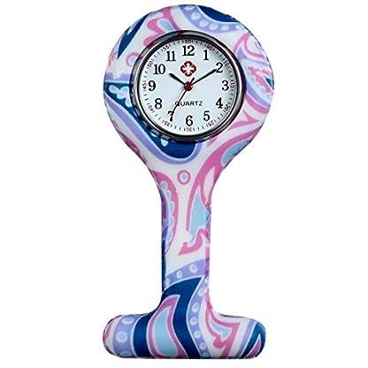 LANCARDO-UhrenKrankenschwester-Armbanduhr-FOB-Uhr-Damen-Taschenuhr-Analog-Quarzuhr-aus-Silikon-rosa-Mehrfarbig-lila