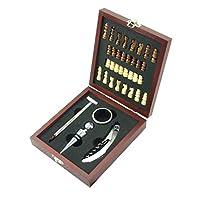MK-Wein-und-Schach-Set-Schachbrett-und-Wein-Zubehr-in-Geschenk-Box-aus-Holz-inkl-Ausgiesser-Thermometer-Korkenzieher-Flaschenverschluss