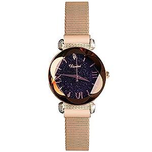 RORIOS-Mode-Damen-Analog-Quarzuhr-Armbanduhren-Mesh-Armband-Magnetband-Sternenklarer-Himmel-Wasserdichte-Armbanduhr