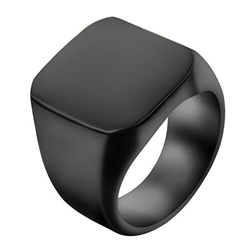 JewelryWe Schmuck Biker Edelstahl Herren-Ring, Glänzend Poliert Siegelring Quadrat Band Ring, Schwarz Größe 54 bis 74 – mit Geschenk Tüte