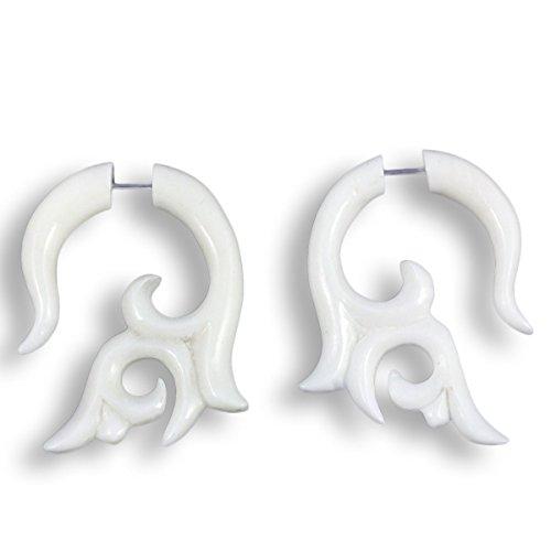 ISLAND PIERCINGS 1 Paar ! Fake Piercing Ohrringe GESCHRAUBT Handarbeit Knochen F119