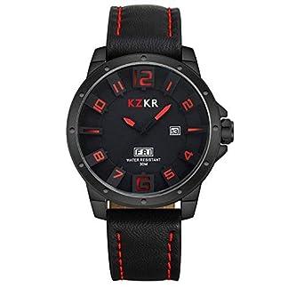 KZKR-Herren-Uhr-Analog-Quarzwerk-mit-Leder-Armband