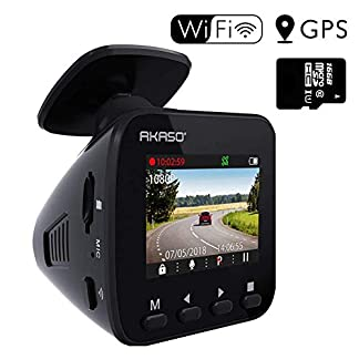 AKASO-Dashcam-Full-HD-1296P-Autokamera-GPS-Auto-Kamera-mit-WiFi-170-Weitwinkelobjektiv-Parkmonitor-Loop-Aufnahme-Nachtsicht-und-G-Sensor-eine-16GB-SD-Karte-Beigefgt
