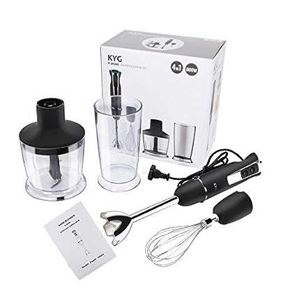 KYG-Stabmixer-800-W-Edelstahl-Prierstab-mit-Zubehr-Schneebesen-500-ml-Zerkleinerer-700-ml-Mixbecher-fr-Smoothies-Suppen-Babynahrung-schwarzedelstahl