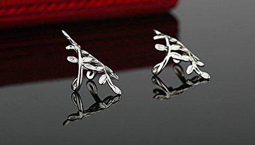 Daesar Schmuck 1 Paar/2 PCS Silber Blatt Ohrclip Ohrklemme Ohrringe 925 Silber Fake Piercing Ear Cuff Ohr Klammern Fake Piercing Fake Loch Piercing für Damen Frauen Mädchen