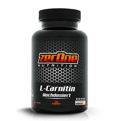 ZerOne Nutrition Premium L-Carnitin Kapseln hochdosiert, gut geeignet während der Diät und vor dem Workout, Gut verträglich dank kleiner Kapseln, 150 g