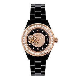 Richtenburg-R10101-Venedig-Kera-Rosgold-IP-Schwarz-mit-Keramikarmband-Damen-Automatik-Armbanduhr