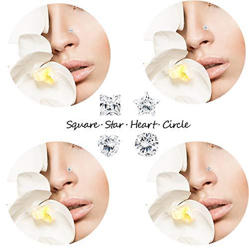 Sllaiss 8 Stück 22G Sterling Silber Winzige Nasenstecker 3MM Verschiedene Formen Zirkonia Körper Nasenpiercing