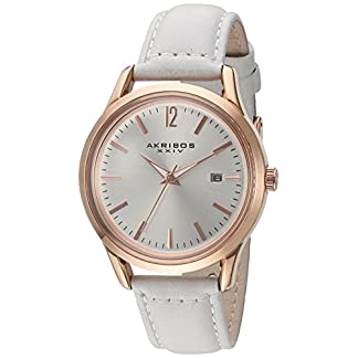 Akribos-XXIV-Damen-Datum-klassisch-Quarz-Uhr-mit-Leder-Armband-AK921WT