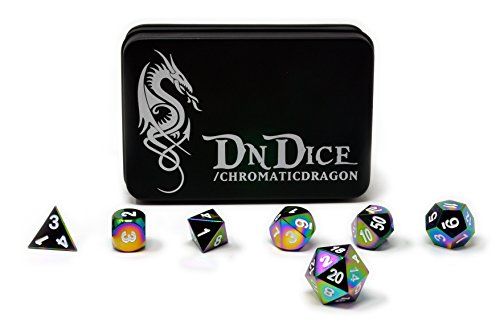 Chromatic-Dragon-Solid-Metal-Poly-Dice-Set-By-DnDice-Available-in-Dark-Chrome-Red-Green-or-Purple-with-Dragon-Insignia-Presentation-Tin-Chromatic-Dragon-Prismatic