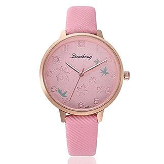 Souarts-Damenuhr-Analog-Quarz-Einfach-Mode-Armbanduhr-mit-Blatter-Design-Zifferblatt-und-Leder-Armband-fr-Frauen