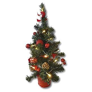 Knstlicher-Tannenbaum-Weihnachtsbaum-45cm-mit-LED-Lichterkette-Beleuchtung-und-Baumschmuck-Weihnachtskugeln-20-Lichter-Baum-geschmckt-mit-Zapfen-Kugeln-Schleifen-Baumschmuck-rot